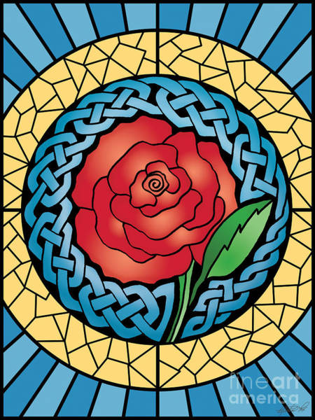 Mixed Media - Celtic Rose Stained Glass by Kristen Fox