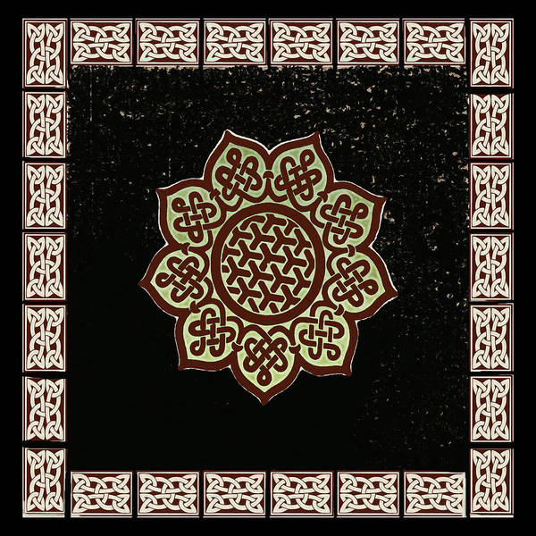 Celtic Mythology Wall Art - Digital Art -  Shield Knot Celtic Symbol Woodcut by Kandy Hurley