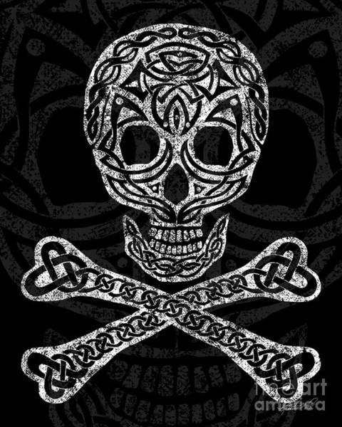Mixed Media - Celtic Skull And Crossbones by Kristen Fox