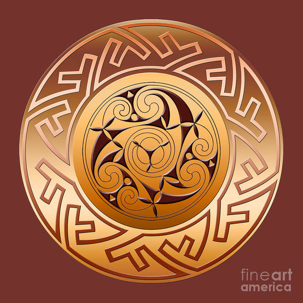 Wall Art - Digital Art - Celtic Spiral And Key Pattern by Melissa A Benson