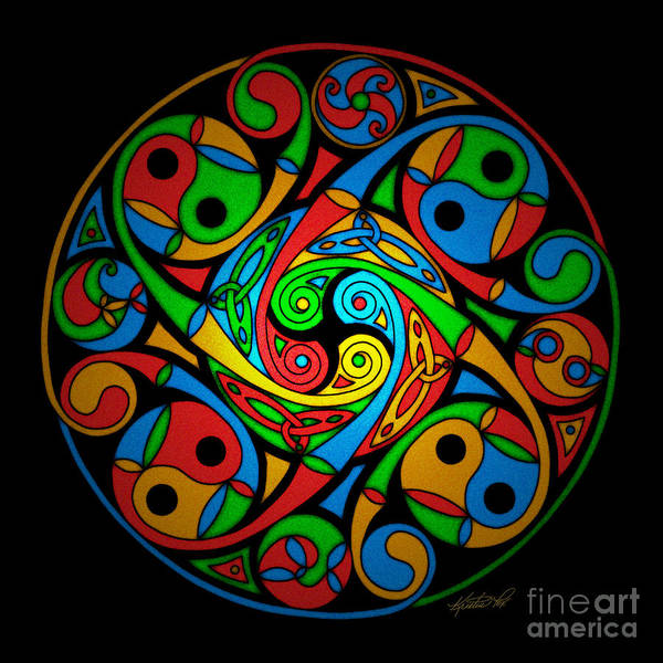 Mixed Media - Celtic Stained Glass Spiral by Kristen Fox