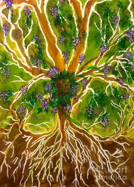 Celtic Mythology Wall Art - Painting - Celtic Tree Of Life Green Man by Ellen Levinson