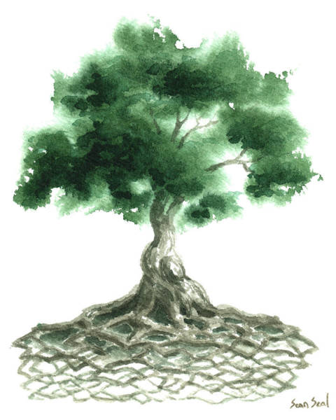 Ireland Painting - Celtic Tree Of Life by Sean Seal