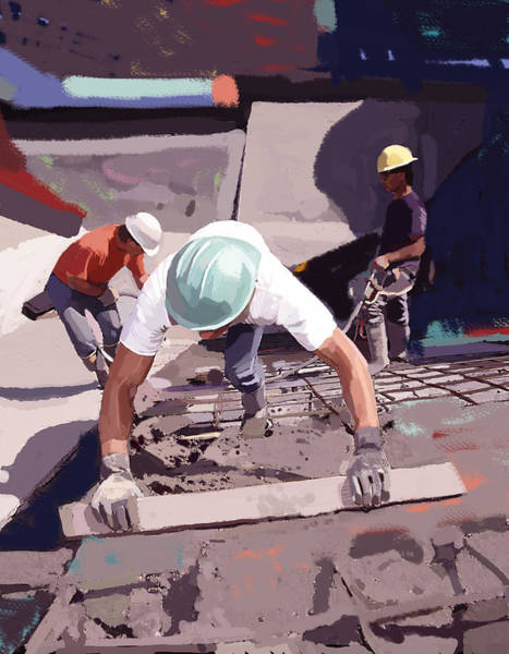 Construction Painting - Cement And Rebar by Brad Burns
