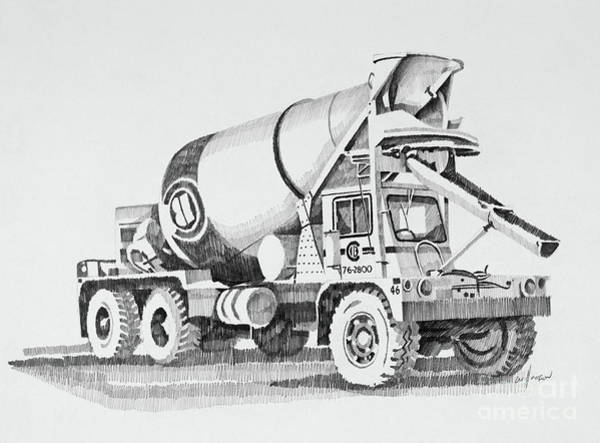 Wall Art - Drawing - Cement Truck by James Williamson