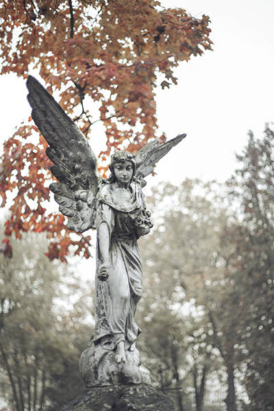 Angelic Photograph - Cemetery Angel by Art of Invi