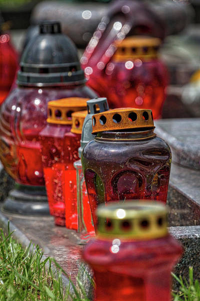 Photograph - Cemetery Glass Candle Jars by Stuart Litoff