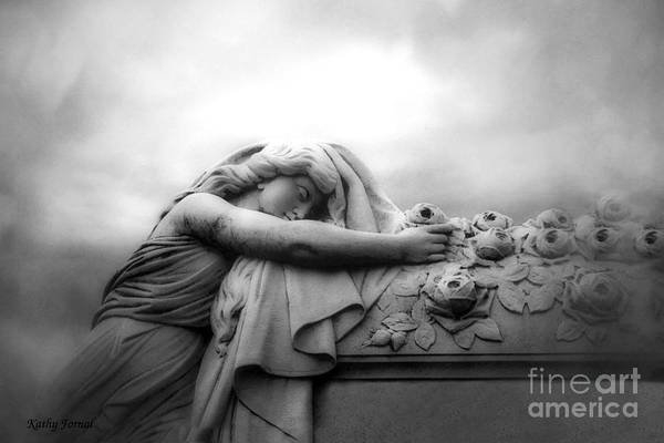Across Photograph - Cemetery Grave Mourner Black White Surreal Coffin Grave Art - Angel Mourner Across Rose Coffin by Kathy Fornal