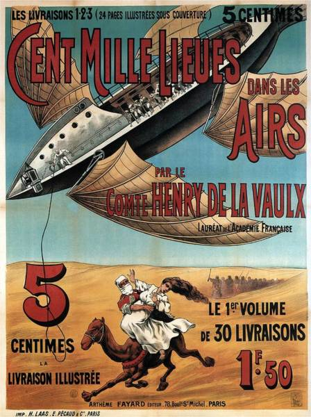 Wall Art - Painting - Cent Mille Lieues Dans Les Airs - Vintage Illustrated Poster From France by Studio Grafiikka
