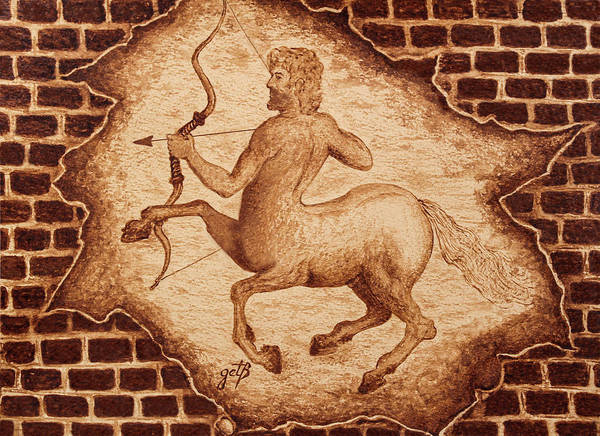 Painting - Centaur Hunting Original Coffee Painting by Georgeta Blanaru