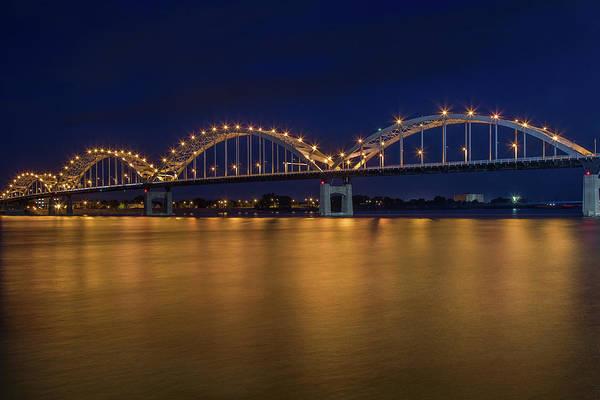 Centennial Bridge Photograph - Centennial Bridge At Dusk by Tom Weisbrook