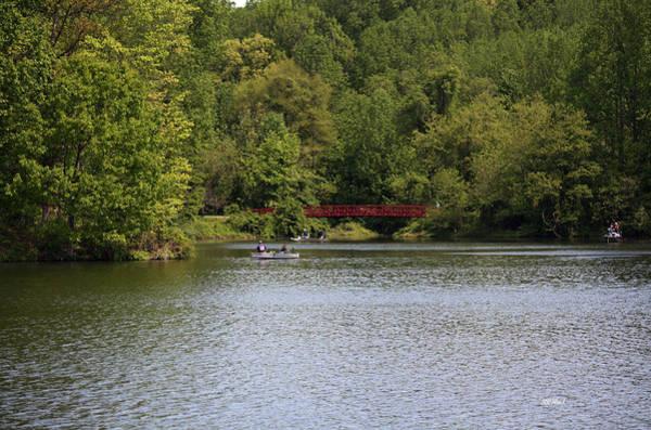 Centennial Bridge Photograph - Centennial Lake Spring - Red Bridge Fishing by Ronald Reid