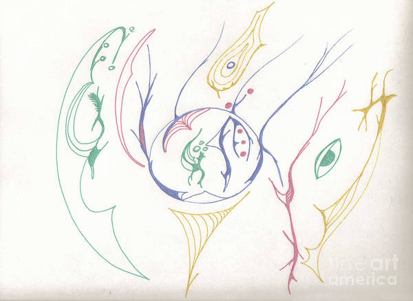 Drawing - Center Orb by Mary Mikawoz