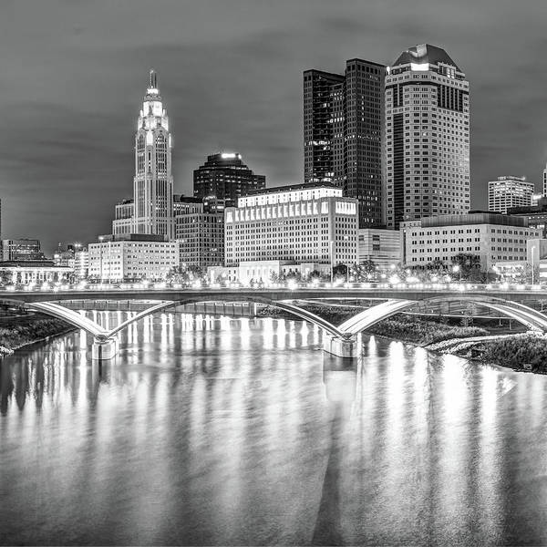 Photograph - Center Panel 2 Of 3 - Columbus Ohio Skyline At Night In Black And White by Gregory Ballos