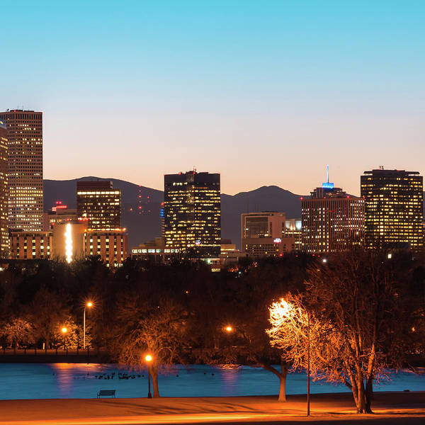 Photograph - Center Panel 2 Of 3 - Denver Colorado Skyline Panoramic by Gregory Ballos