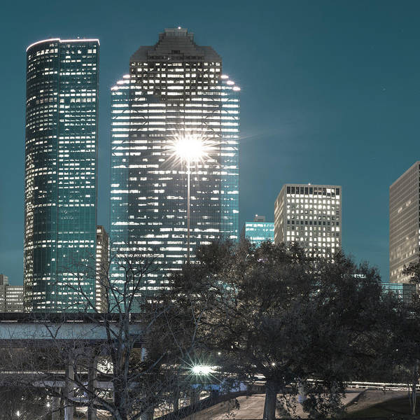 Photograph - Center Panel 2 Of 3 - Houston Texas Skyline Panorama At Night by Gregory Ballos