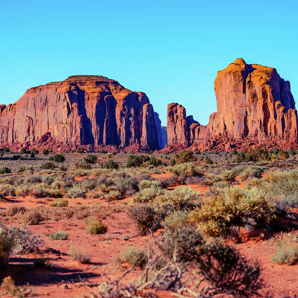 Photograph - Center Panel 2 Of 3 - Monument Valley Monolith Panorama Landscape - American Southwest by Gregory Ballos