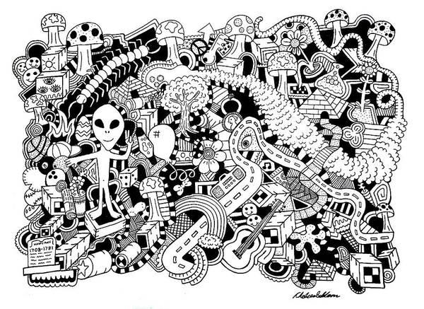 Wall Art - Drawing - Centipede by Chelsea Geldean