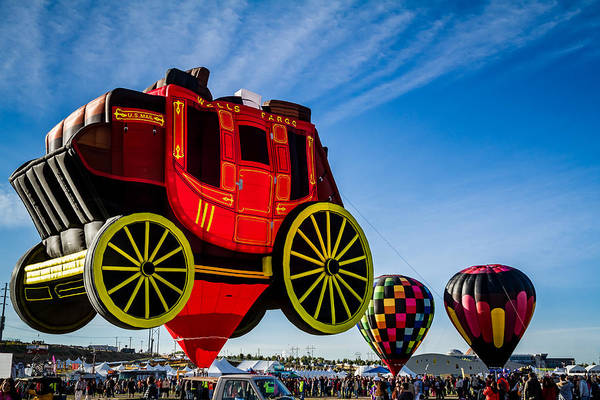 Photograph - Cent'r Stage - The Wells Fargo Stagecoach Hot Air Balloon by Ron Pate