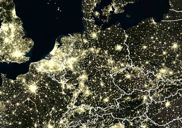 Wall Art - Photograph - Central Europe At Night, Satellite Image by Planetobserver