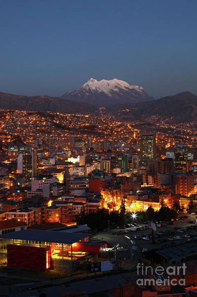 Photograph - Central La Paz And Mt Illimani At Dusk Bolivia by James Brunker