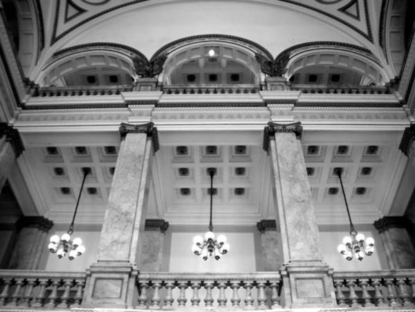 Wi Photograph - Central Library Milwaukee Interior Bw by Anita Burgermeister