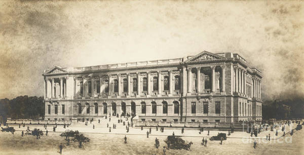 Wall Art - Drawing - Central Library Of The Free Library Of Philadelphia by Jules Guerin