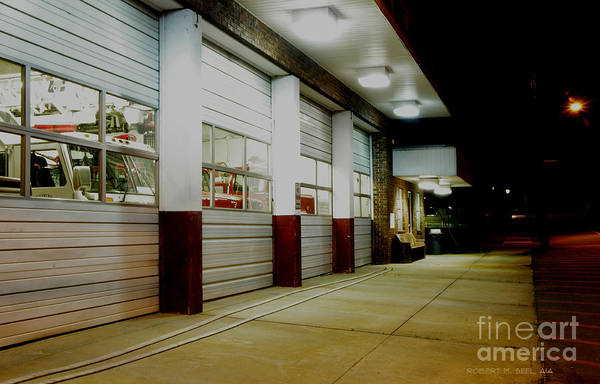 Central Fire Station Photograph - Central Nightlife 4 by Robert M Seel