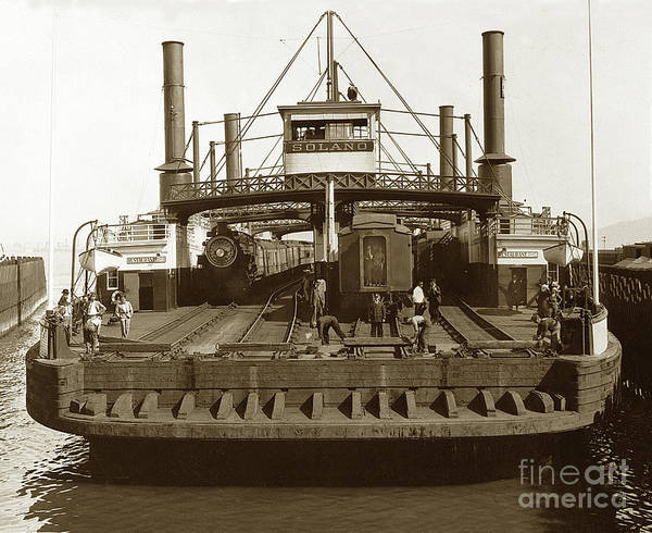 Photograph - Central Pacific Railroad Solano  Railroad Ferry by California Views Archives Mr Pat Hathaway Archives