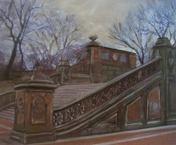 Painting - Central Park Bethesda Staircase by Anita Burgermeister