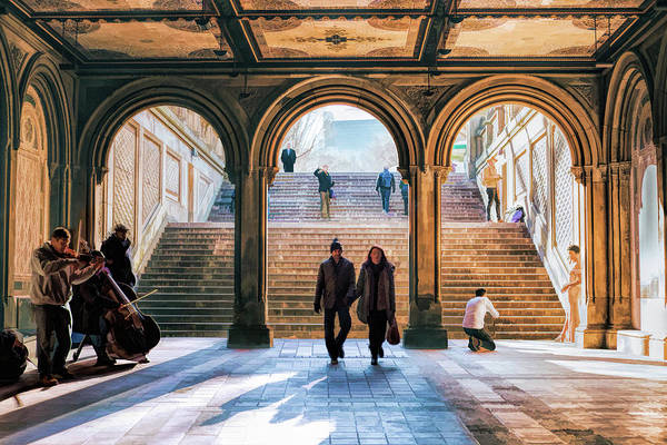 Painting - New York City Central Park Bethesda Terrace Arcade by Christopher Arndt