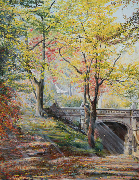 Central Texas Painting - Central Park In Fall by Sylvia LeDoux
