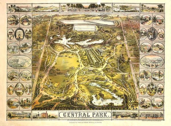 New York Wall Art - Mixed Media - Central Park Map, Manhattan New York, 1863 by Zal Latzkovich