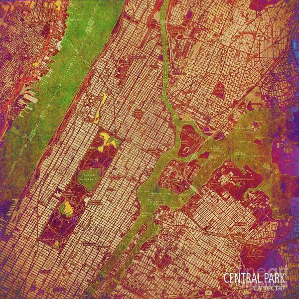 Wall Art - Digital Art - Central Park New York Abstract Colorful City Map by Drawspots Illustrations