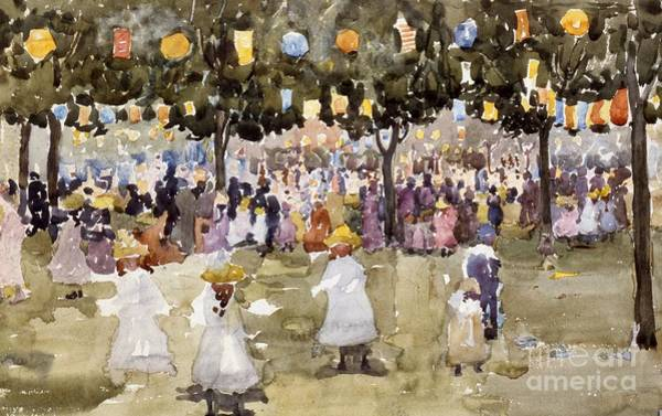 New Leaf Painting - Central Park  New York City  July Fourth  by Maurice Prendergast