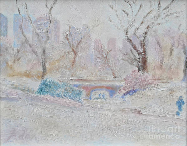 Jogging Painting - Central Park Record Early March Cold Circa 2007 by Felipe Adan Lerma