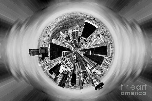 Iconic Digital Art - Central Park View Bw by Az Jackson