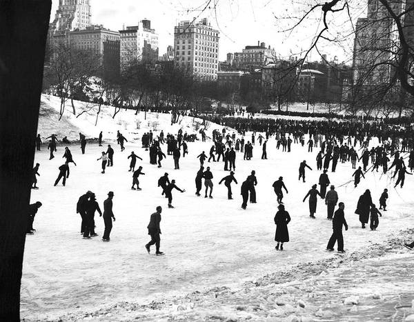 Skater Photograph - Central Park Winter Carnival by Underwood & Underwood