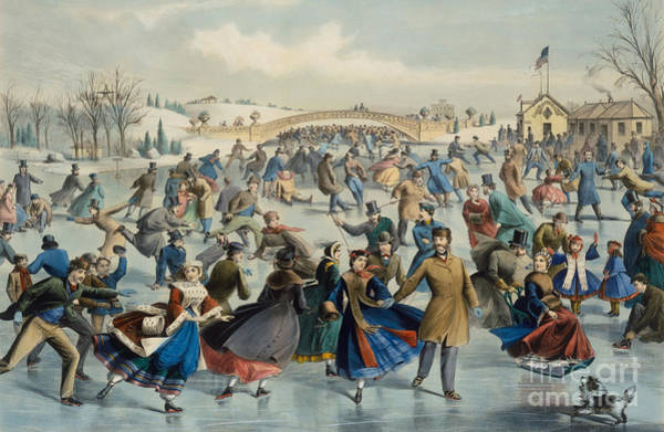 Currier And Ives Painting - Central Park, Winter The Skating Pond, 1862 by Currier and Ives