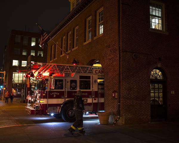 Photograph - Central Square Cambridge Fire Station Cambridge Ma Fire Truck by Toby McGuire