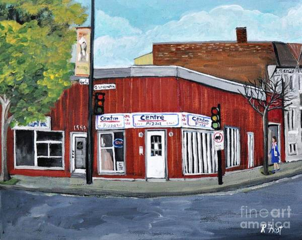 Montreal Street Scene Painting - Centre Pizza Verdun by Reb Frost