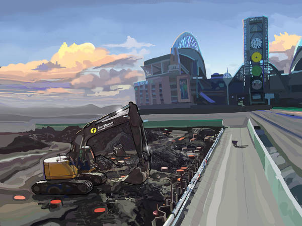 Construction Painting - Century Link by Brad Burns