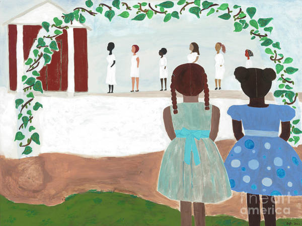 Blue Hair Wall Art - Painting - Ceremony In Sisterhood by Kafia Haile