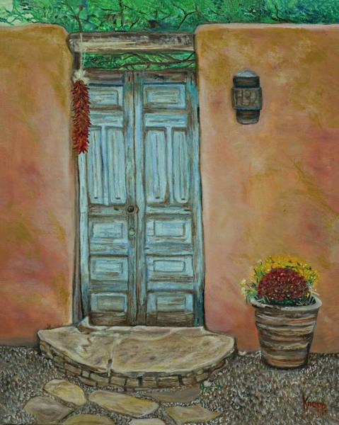 Painting - Cerrillios Blue Door by Kathy Knopp
