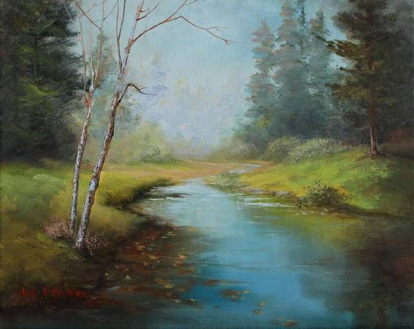 Painting - Cerulean Blue Stream by Judy Bradley
