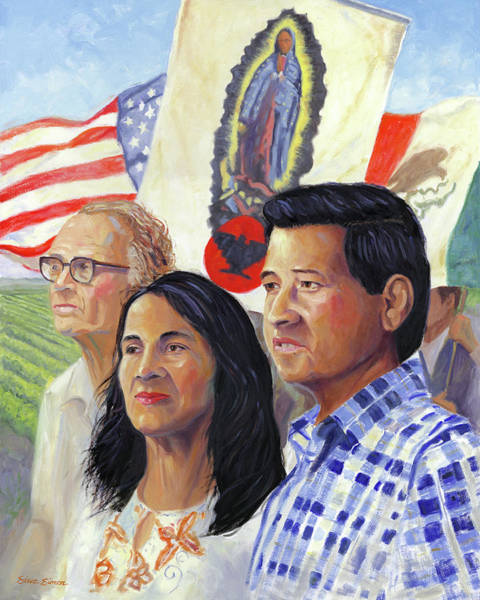 Cesar Wall Art - Painting - Cesar Chavez And La Causa by Steve Simon