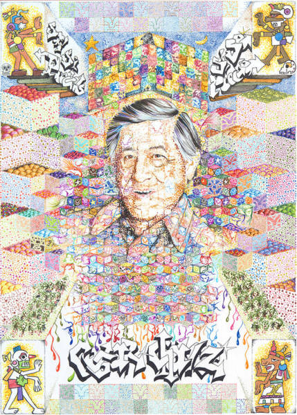 Cesar Wall Art - Drawing - Cesar Chavez- Sombra De Arreguin by Doug Johnson