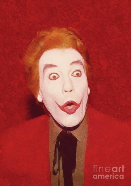 Cesar Wall Art - Painting - Cesar Romero The Joker by Mary Bassett