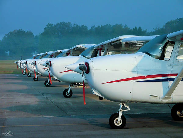 Photograph - Cessna 172's All In A Row by Philip Rispin