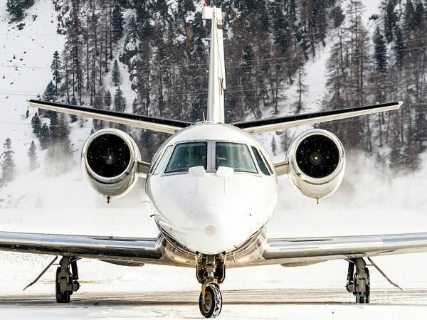 Wall Art - Photograph - Cessna 560 Xls Bizjet Over Snow Park St. Moritz by Roberto Chiartano